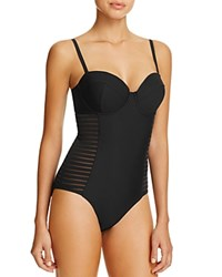 Amoressa Sideways Underwire Bustier Mesh Stripe Maillot One Piece Swimsuit Black
