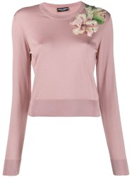 Dolce And Gabbana Embroidered Jumper Pink