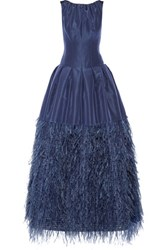 Oscar De La Renta Feather Trimmed Silk Faille Gown Navy