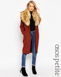 Asos Petite Coat In Oversized Fit With Faux Fur Collar Ginger