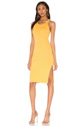 Monrow Rib Tank Dress With Side Slit Yellow