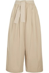 Tome Cropped Cotton Twill Wide Leg Pants Beige