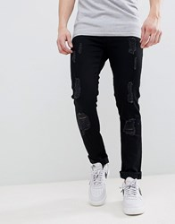 Voi Jeans Skinny Fit In Ripped Black