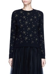 Valentino Star Embroidered Virgin Wool Cashmere Sweater Black