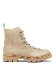 Grenson Brady Lace Up Suede Hiking Boots Beige