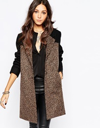Religion Eternal Tailored Wool Coat With Leopard Print Panels Jetblackanimal