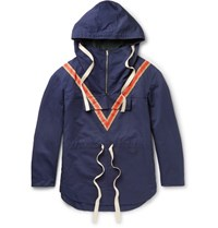 Stella Mccartney Chevron Detailed Cotton And Linen Blend Canvas Anorak Navy