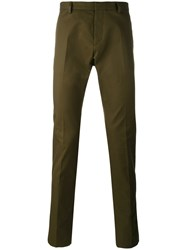 Dsquared2 Slim Fit Chino Trousers Men Cotton 46 Green