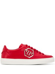 Philipp Plein Lo Top Statement Sneakers Red
