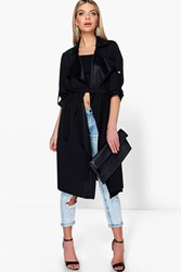 Boohoo Freya Belted Waterfall Duster Black
