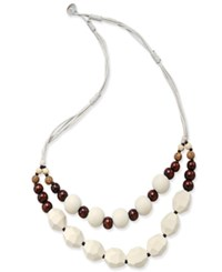 Macy's White Cord Wood And White Bead Double Layer Necklace Natural