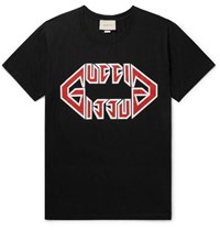 Gucci Oversized Printed Cotton Jersey T Shirt Black