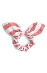 J.Crew Women's Stripe Bow Hair Tie Red Ivory