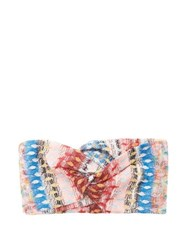 Missoni Mare Metallic Crochet Knit Headband Pink Multi