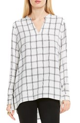 Vince Camuto Women's Windowpane V Neck Tunic