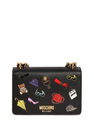 Moschino Iconic Pins Leather Shoulder Bag