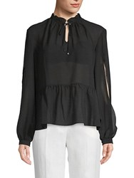 Laundry By Shelli Segal Chiffon Tie Front Top Black