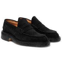 Tricker's James Suede Penny Loafers Black