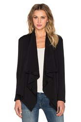 Heather Fleece Vent Back Cardigan Black