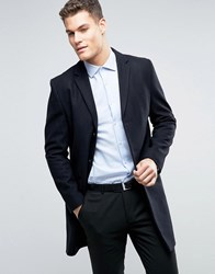 New Look Wool Overcoat In Navy Navy
