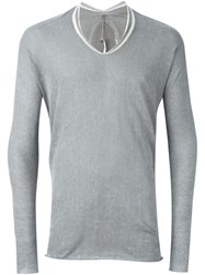 Label Under Construction Printed Arched Sweater Grey