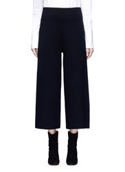 Mo And Co. Edition 10 Wool Rib Knit Cropped Wide Leg Pants Black