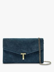 Ted Baker Jakiee Leather Clutch Bag Mid Blue