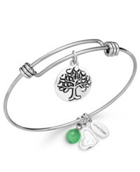 Unwritten Family Charm And Green Aventurine 8Mm Bangle Bracelet In Stainless Steel