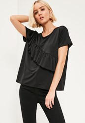 Missguided Black Ruffle Front T Shirt