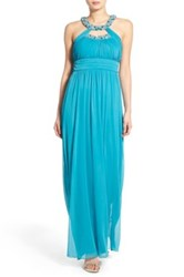 Way In 'Hanna' Embellished Neck Empire Waist Gown Blue