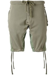 Greg Lauren Drawstring Shorts Men Cotton 3 Green