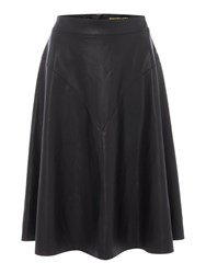 Biba Faux Leather Fit And Flare Skirt Black