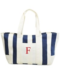 Cathy's Concepts Personalized Navy Striped Canvas Tote F