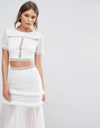 True Decadence Lace Cropped Blouse White