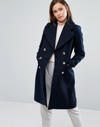 Oasis Button Detail Military Coat Navy