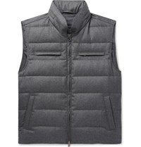 Thom Sweeney Quilted Wool Hooded Down Gilet Gray