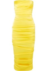 Alex Perry Ace Strapless Ruched Satin Dress Yellow