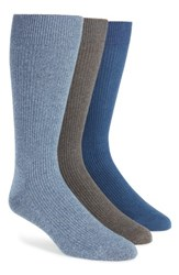 Nordstrom 'S Men's Shop 3 Pack Socks Charcoal Blue Denim