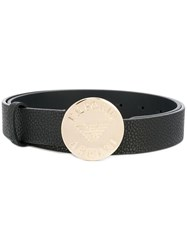 Emporio Armani Engraved Buckle Belt Black