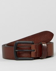 Asos Slim Leather Belt With Vintage Finish And Black Coated Buckle Brown