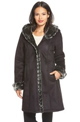 Petite Women's Gallery Hooded Faux Shearling Coat Black