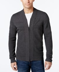 Alfani Full Zip Shawl Collar Cardigan Sweater Charcoal Heather