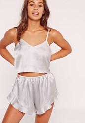 Missguided Cropped Cami Pj Set Silver