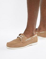 New Look Faux Suede Boat Shoes In Tan