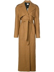 Khaite Long Gingham Trench Coat Brown
