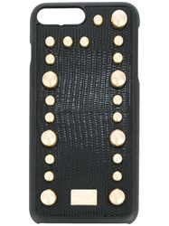 Dolce And Gabbana Embellished Iphone Cover Women Calf Leather Plastic One Size Black