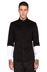 Public School Elasticated Cuff Shirt Black And White