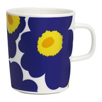 Marimekko Oiva Unikko Mug Small White Dark Blue Yellow