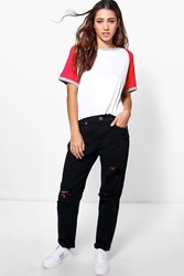 Boohoo High Waisted Ripped Mom Jeans Black
