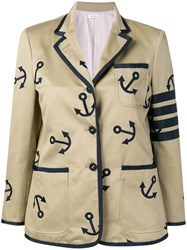Thom Browne 4 Bar Anchor Embroidery Sack Jacket Neutrals